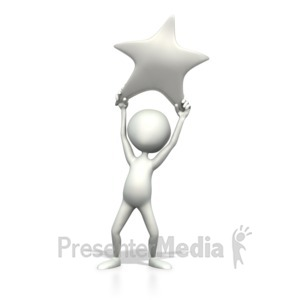ID# 2133 - Holding Silver Star - Presentation Clipart