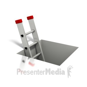 ID# 2155 - Ladder Coming Out of Square Hole - Presentation Clipart