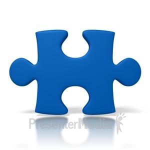 ID# 2168 - Single Blue Puzzle Piece - Presentation Clipart