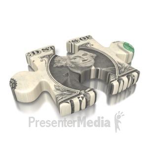 ID# 2169 - One Dollar Bill Puzzle Piece - Presentation Clipart