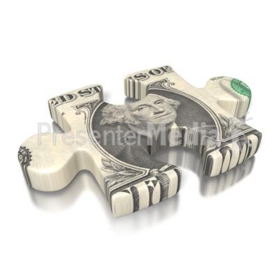 One Dollar Bill Puzzle Piece PowerPoint Clip Art
