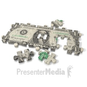 ID# 2171 - One Dollar Bill Puzzle - Presentation Clipart