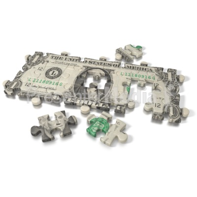 One Dollar Bill Puzzle PowerPoint Clip Art