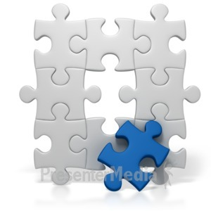 ID# 2174 - Blue Puzzle Piece Missing - Presentation Clipart