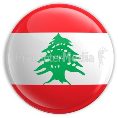 Badge of the Flag of Lebanon PowerPoint Clip Art