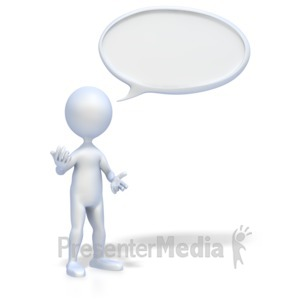 ID# 2221 - 3D Figure with Conversation Bubble - Presentation Clipart