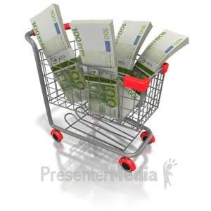 ID# 2225 - Shopping Cart Euro Money - Presentation Clipart