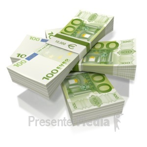 ID# 2227 - Euro Money Three Stack  - Presentation Clipart