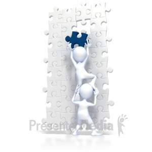 ID# 2230 - Build Puzzle Teamwork  - Presentation Clipart