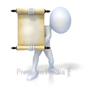 ID# 2257 - Figure Holding Scroll - Presentation Clipart