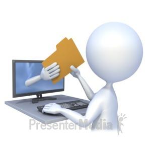 ID# 2262 - Computer File Transfer - Presentation Clipart