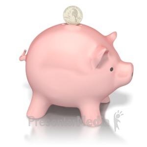 ID# 2291 - Piggy Bank Deposit - Presentation Clipart