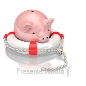 ID# 2305 - Piggy Bank Life Preserver - Presentation Clipart