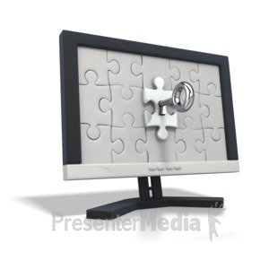 ID# 2309 - Key insert into puzzle piece on monitor - Presentation Clipart