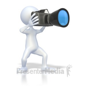 ID# 2310 - Stick Figure Taking Picture - Presentation Clipart