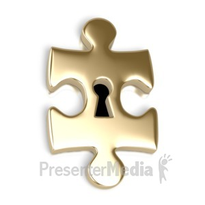 ID# 2314 - Gold Puzzle Piece Key Hole - Presentation Clipart