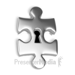 ID# 2315 - Silver Puzzle Piece Key Hole - Presentation Clipart