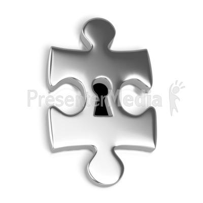 Silver Puzzle Piece Key Hole PowerPoint Clip Art