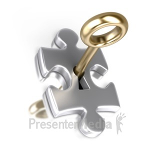 ID# 2319 - Silver Puzzle Piece Gold Key Insert - Presentation Clipart