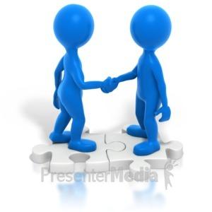 ID# 2326 - Two Blue Stickmen Handshake Puzzle - Presentation Clipart