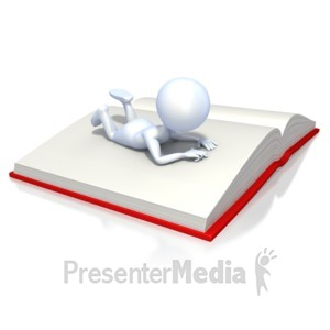 ID# 2338 - Stick Figure Reading Book - Presentation Clipart