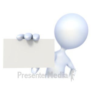 ID# 2343 - 3D Figure Holding a Business Card - Presentation Clipart
