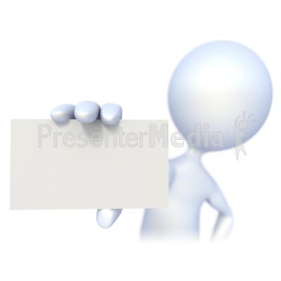 3D Figure Holding a Business Card PowerPoint Clip Art
