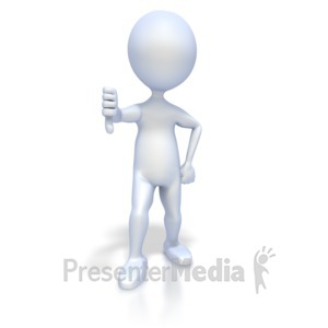 ID# 2344 - 3D Figure Give Thumbs Down - Presentation Clipart