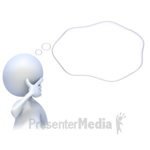 ID# 2348 - 3D Figure with Thought Bubble - Presentation Clipart