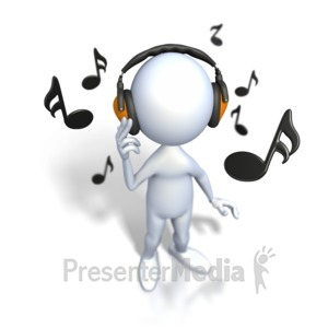 ID# 2378 - Stick Figure Listening To Music - Presentation Clipart