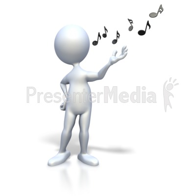 Stick Figure Singing Music Notes PowerPoint Clip Art