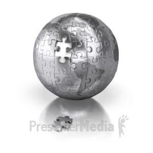 ID# 2416 - Shiny Silver Puzzle Globe Americas - Presentation Clipart