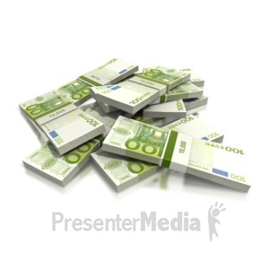 ID# 2423 - Euro One Hundred Note Pile - Presentation Clipart