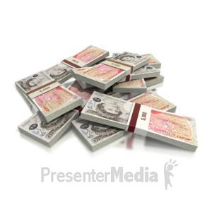 ID# 2424 - British Pounds Fifty Note Pile - Presentation Clipart