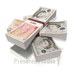 ID# 2425 - British Pounds Money Three Bundles - Presentation Clipart