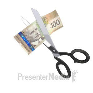 ID# 2426 - Scissors Clipping Canadian Dollar - Presentation Clipart