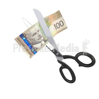 Scissors Clipping Canadian Dollar PowerPoint Clip Art