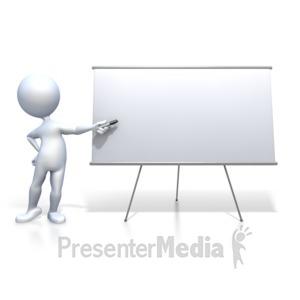 ID# 2463 - Stick Figure Presenting Blank Board - Presentation Clipart