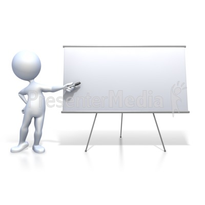 Stick Figure Presenting Blank Board PowerPoint Clip Art