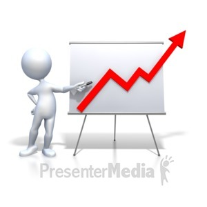 ID# 2466 - Stick Figure Presenting Graph Increase - Presentation Clipart
