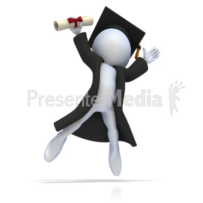 Graduate with Diploma Jumping for Joy PowerPoint Clip Art