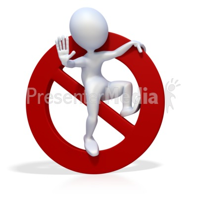 3D Figure with Prohibited or Banned Symb PowerPoint Clip Art