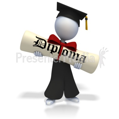 Graduate With Huge Diploma PowerPoint Clip Art