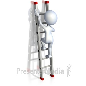 ID# 2512 - Stick Figure Climbing Ladder - Presentation Clipart