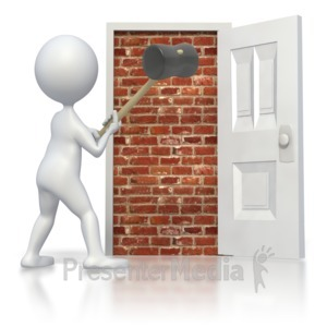 ID# 2515 - Break Brick Door - Presentation Clipart