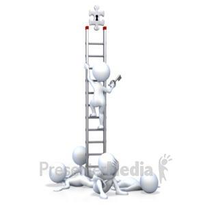 ID# 2524 - Stick Figure Top Leader On Ladder - Presentation Clipart