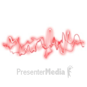 ID# 2534 - Red Glowing Sound Waves - Presentation Clipart