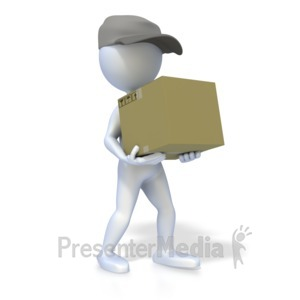 ID# 2547 - 3D Figure Delivery Person - Presentation Clipart