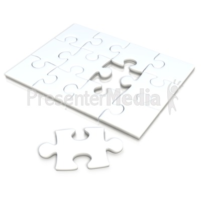 White Square Puzzle Separate Piece PowerPoint Clip Art