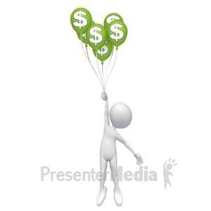 ID# 2562 - Stick Figure Money Balloons - Presentation Clipart